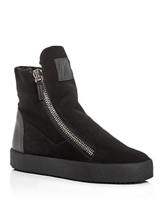 Giuseppe Zanotti - Women's Suede & Shearling High Top Sneakers